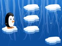 لعبة البطريق الصغير والقفز على الصخور الجليدية