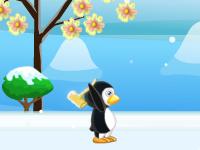 لعبة البطريق الصغير وتحطيم المكعبات الجليدية