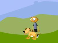 لعبة الولد الصغير ولعب رمي الكرة مع الكلب اللطيف