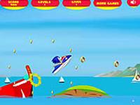 لعبة سونيك والتزلج على الماء وجمع النقود الذهبية