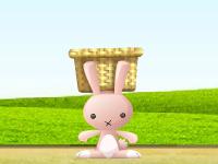 لعبة الأرانب اللطيفة وجمع الزهور الجميلة